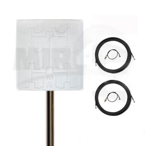 Панельная антенна Double Pro 19 дБи (самая мощная среди панельных антенн, не боится морозов и жары) + 2 мотка кабеля по 10 м + 2 переходника