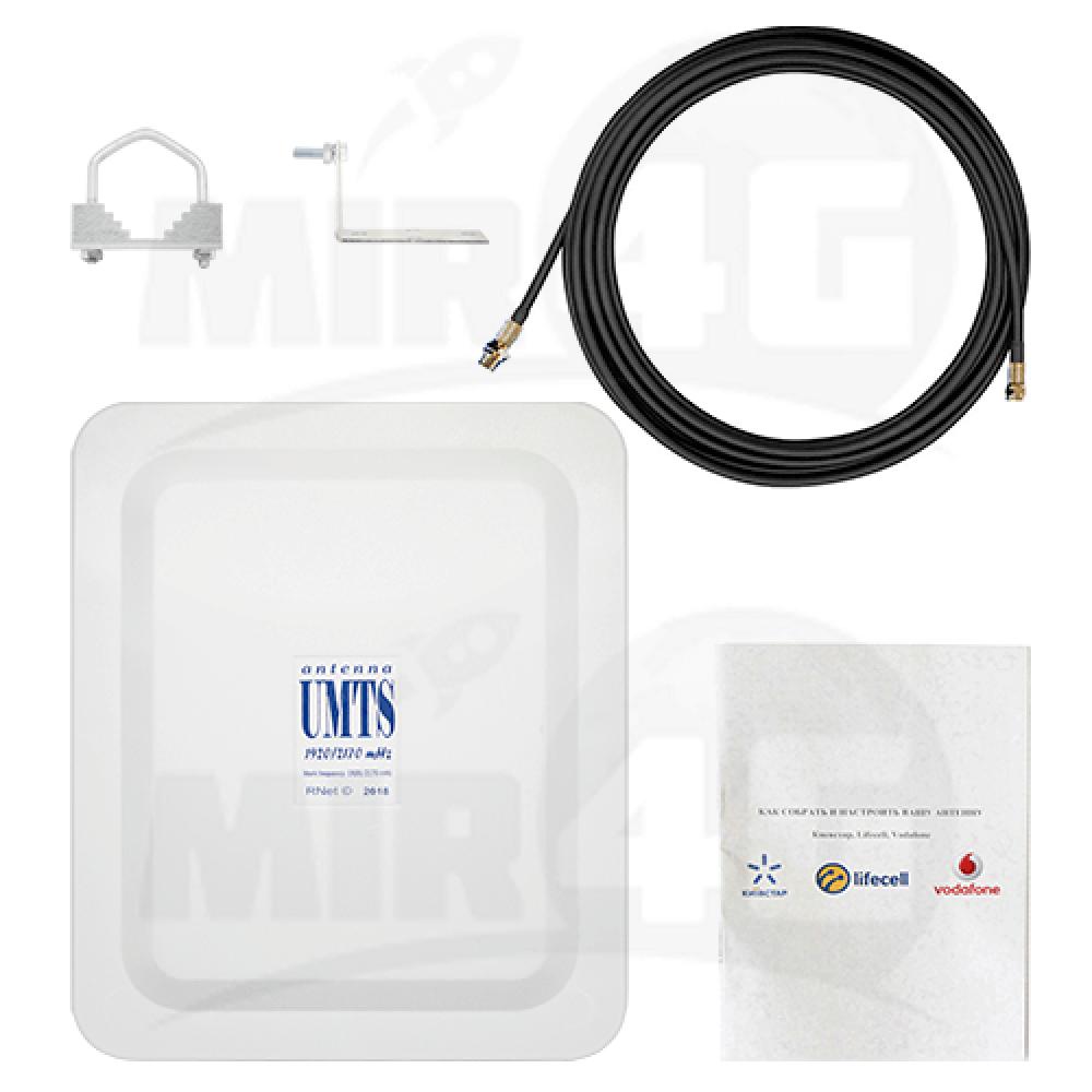 Антенна  3G панельная с усилением 12 дБи + 10 м кабеля (1920-2170  МГц)