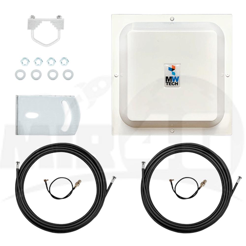 3G / 4G панельная антенна с технологией MIMO 15дБи (простая настройка, усиливает до 4-х раз)  в комплекте 10 метров кабеля + переходник