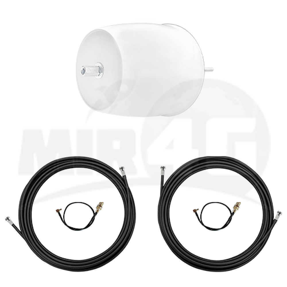 4G 3G Купольная антенна с технологией MIMO Ultra Power 2x12 дБи (1700-2700 МГц) в комплекте 2 мотка кабеля по 10 м и 2 переходника