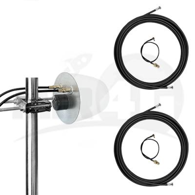 4G 3G MIMO антенна Ultra Power купольная 2x12 дБи (1700-2700 МГц) + 2 мотка кабеля по 10 м + 2 переходника
