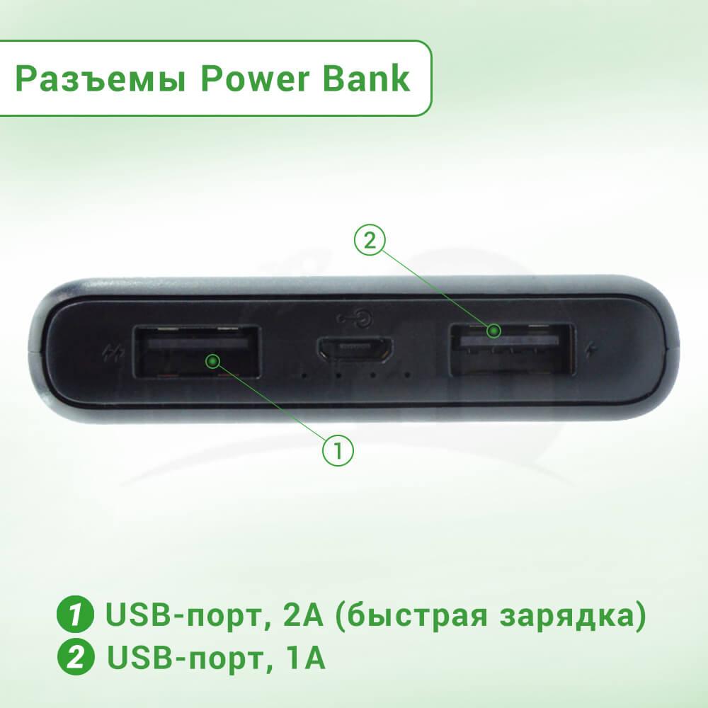 Power Bank NOMI C100 Black (хватает на 2-3 заряда смартфона, одновременная зарядка 2 гаджетов)