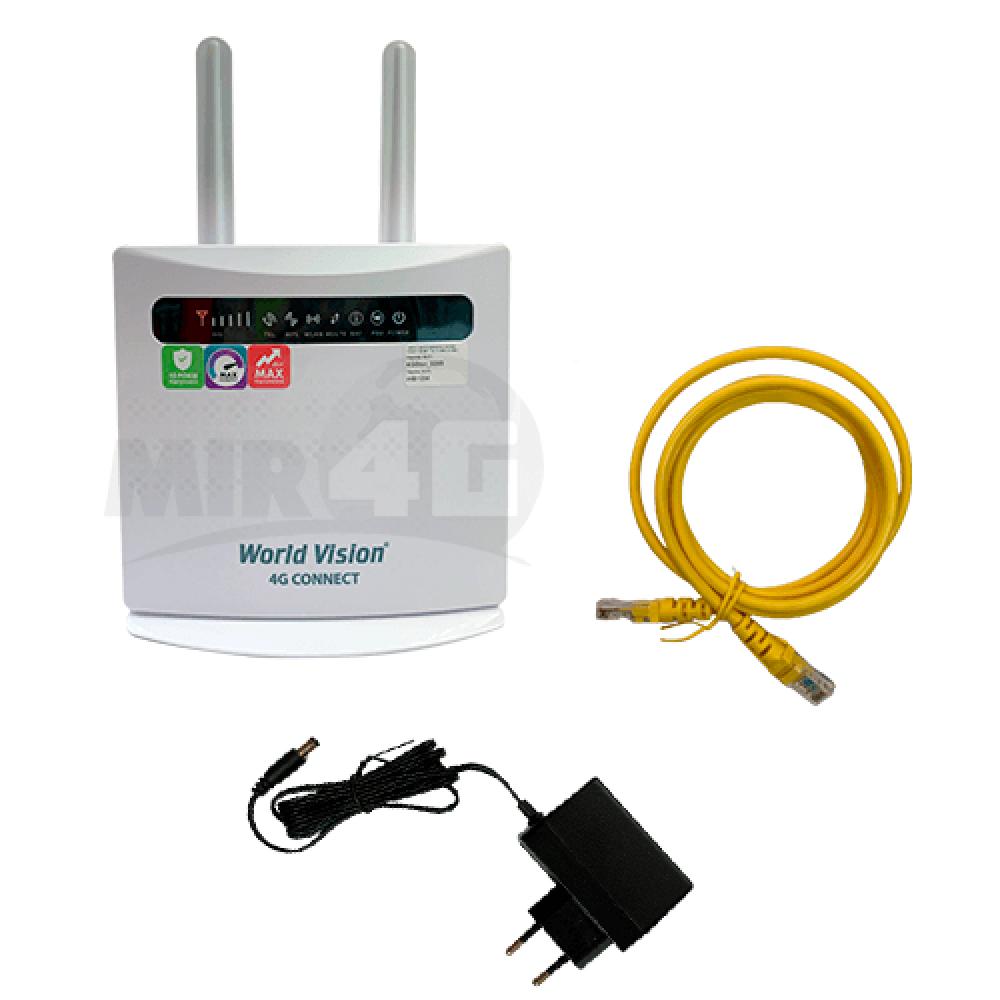 Wi-Fi 4G роутер World Vision 4G Connect (дві знімні антени, швидкість Wi-Fi до 300 Мбіт/с, 4G до 150 Мбіт/с)