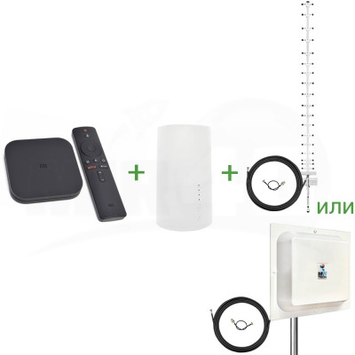 """Готовый к работе комплект 4G """"Интернет + TV +"""" (приставка для телевизора, роутер и антенна)"""