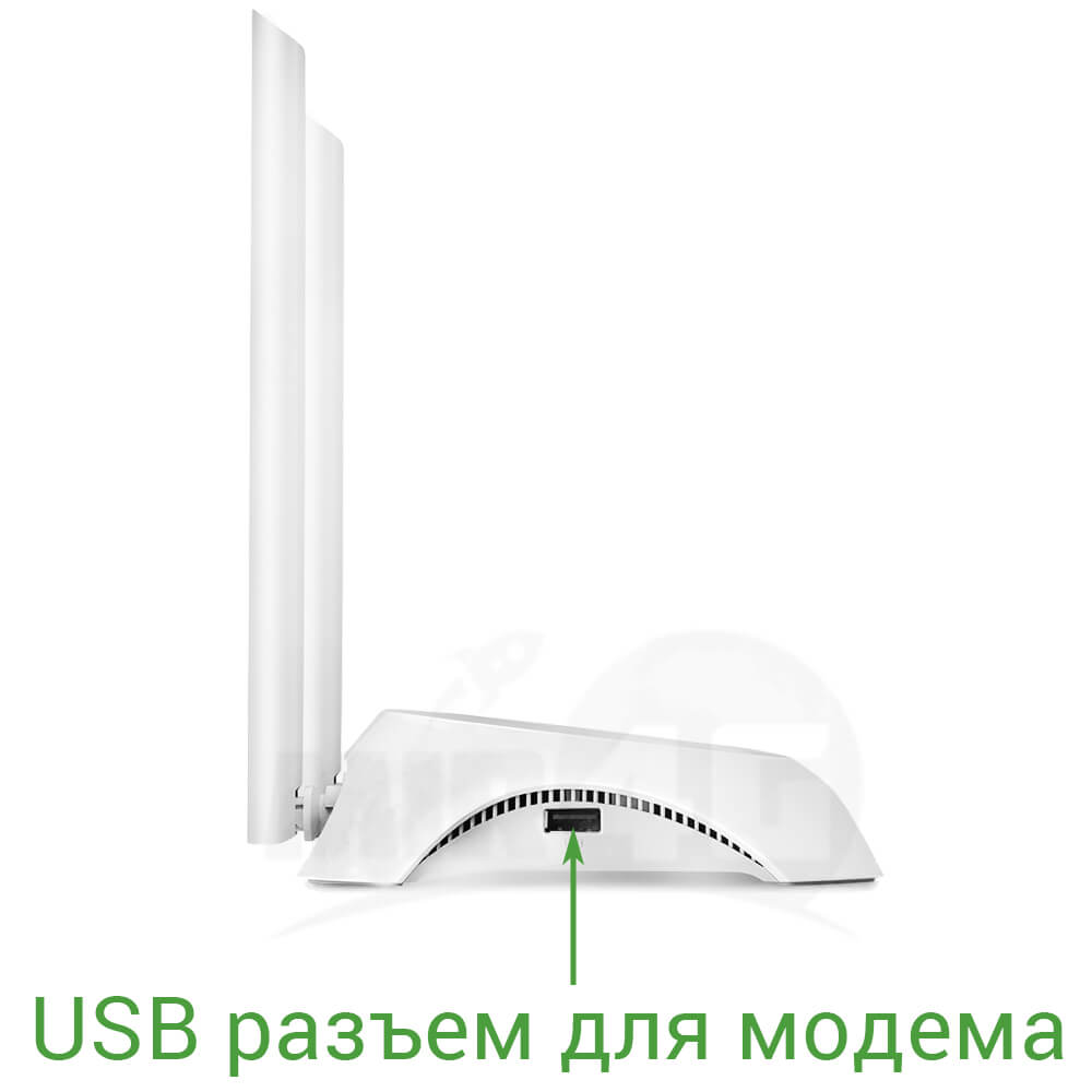 Стационарный WiFi роутер TP Link TL-WR842N отлично подходит для любого USB модема (скорость до 300 Мбит/с по Wi-Fi)